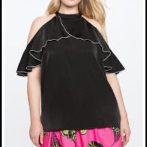 Black Ruffle Sleeve Cold Shoulder Top
